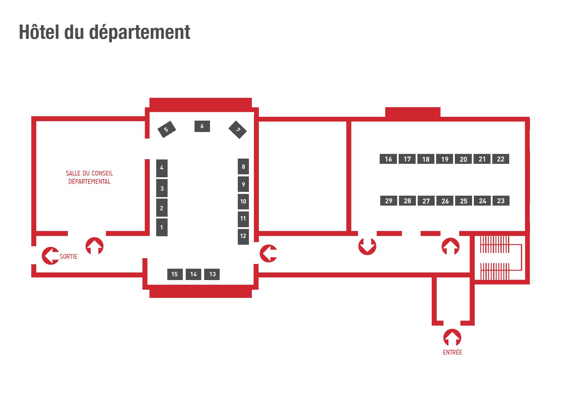 Plan des tables à l'Hôtel du Département