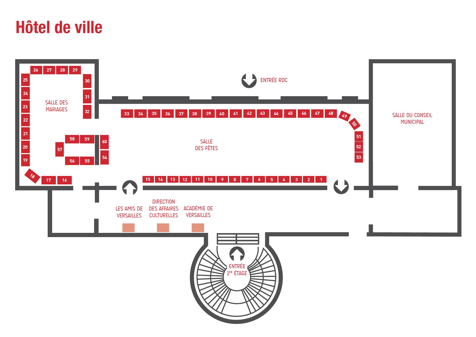 Plan des tables à l'Hôtel de Ville